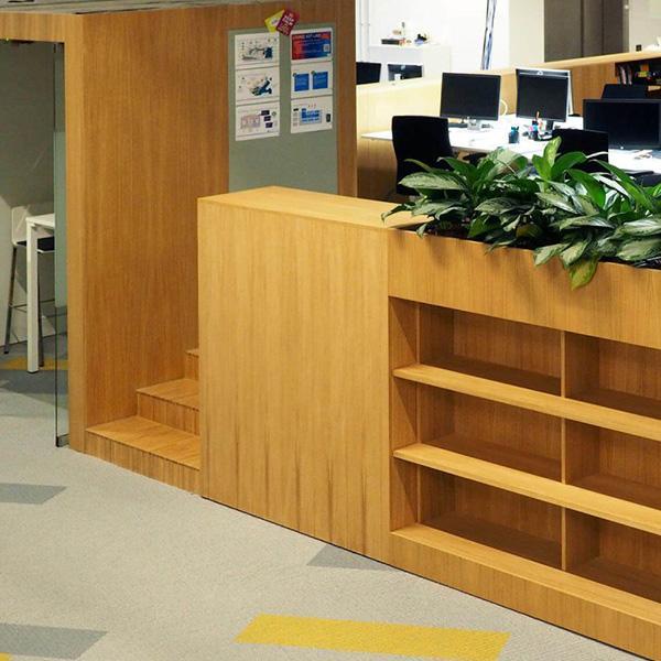 Delafair Innenausbau - Trennwand mit integriertem Regal und Pflanztrog